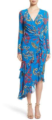 Etro Jungle Floral Print Asymmetrical Ruffle Dress