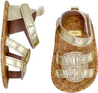 Carter's Baby Girl Gold Glitter Sandal Crib Shoes
