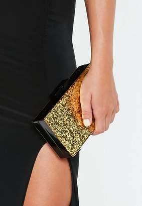Missguided Gold Glitter Box Clutch Bag