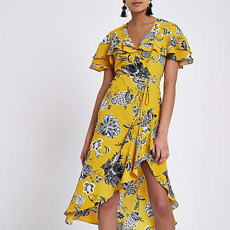 River Island Womens Yellow floral frill tie waist wrap midi dress