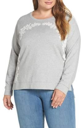 Lucky Brand Chenille Floral Sweatshirt