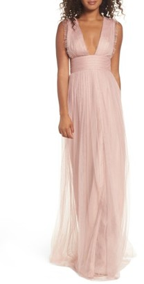 Women's Monique Lhuillier Bridesmaids Isla Ruffle Pleated Tulle Gown $270 thestylecure.com