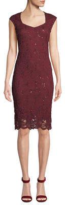 Neiman Marcus Lace Sweetheart Body-Con Dress