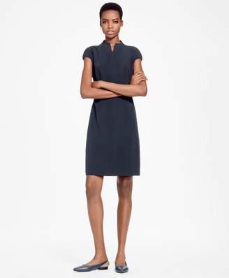 Brooks Brothers Cap-Sleeve Crepe Satin Sheath Dress