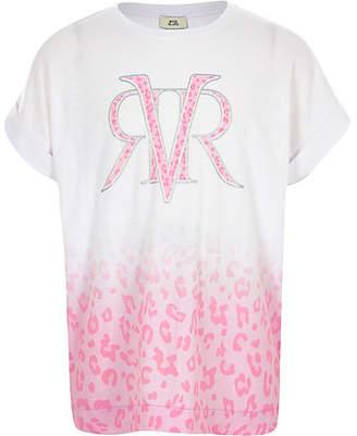 River Island Girls Pink leopard print fade T-shirt