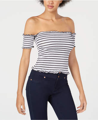 Almost Famous Juniors' Smocked Off-The-Shoulder Crop Top