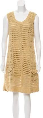 Diane von Furstenberg Crocheted Sleeveless Dress Gold Crocheted Sleeveless Dress