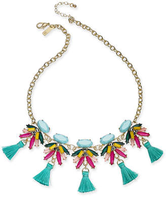 "INC International Concepts I.n.c. Gold-Tone Multi-Stone & Tassel Statement Necklace, 18"" + 3"" extender"