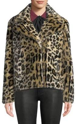 Frame Faux-Fur Cheetah-Print Jacket