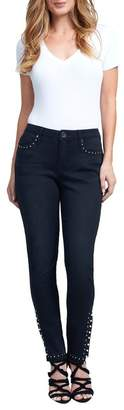 Seven7 Mid Rise Studded Skinny Jeans