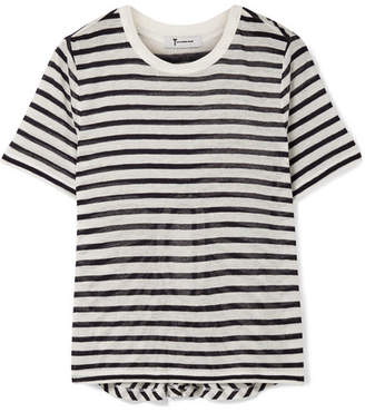 Alexander Wang Cutout Striped Slub Stretch-jersey T-shirt - Ivory