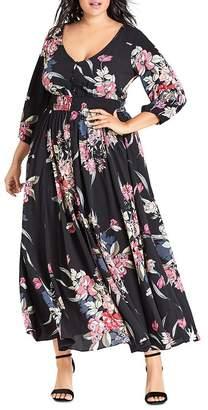 City Chic Plus Misty Love Floral-Print Maxi Dress