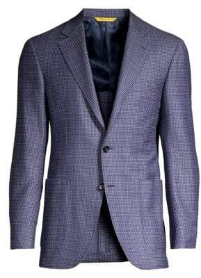 Canali Diamond Twill Wool Jacket