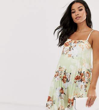 Asos DESIGN Maternity floral bandeau pleated trapeze mini dress