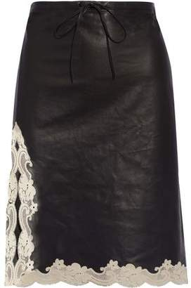 Alexander Wang Lace-Trimmed Leather Skirt
