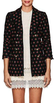 Philosophy di Lorenzo Serafini Women's Embroidered Wool-Blend Double-Breasted Blazer - Black