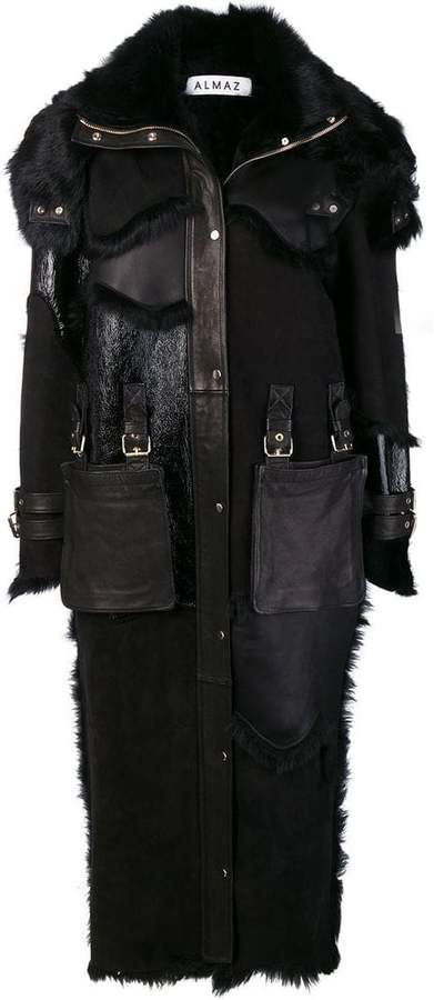 Almaz fur inserts midi coat