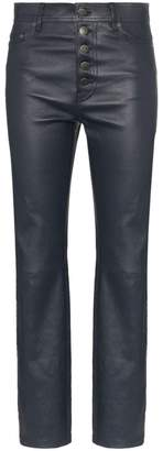 Joseph navy Den buttoned cropped leather trousers