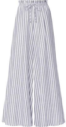 Caroline Constas Striped Cotton-voile Wide-leg Pants - Gray