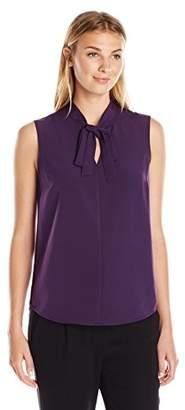 Lark & Ro Women's Tie Neck Sleeveless Top