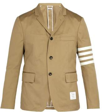 Thom Browne - Striped Single Breasted Cotton Blazer - Mens - Camel