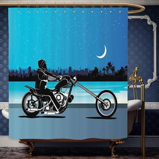 Wanranhome Custom-made shower curtain MotorcycleArt with Chopper Motorcycle Biker Riding Under Starry Night Sky Cityscape Silhouette Black Navy For Bathroom Decoration