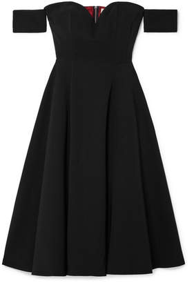 Sara Battaglia Off-the-shoulder Cady Midi Dress - Black