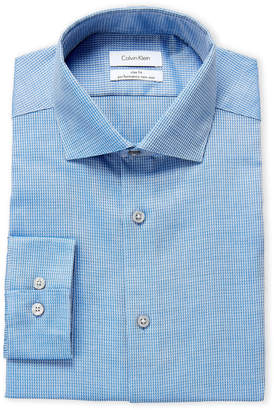 Calvin Klein French Blue Printed Slim Fit Dress Shirt