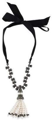 Lanvin Faux Pearl & Crystal Tassel Necklace