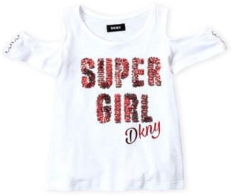 DKNY Girls 4-6x) Sequin Super Girl Cold Shoulder Slub Knit Tee