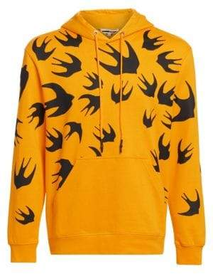 McQ Men's Bird Graphic Hoodie - Chrome Yellow - Size Medium
