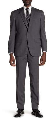 David Donahue Grey Sharkskin Two Button Notch Lapel Wool Classic Fit Suit