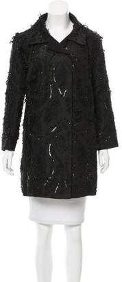 Oscar de la Renta Sequined Lace-Trimmed Coat