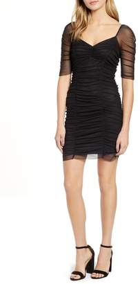 1 STATE 1.STATE Ruched Sleeve Mesh Body-Con Dress