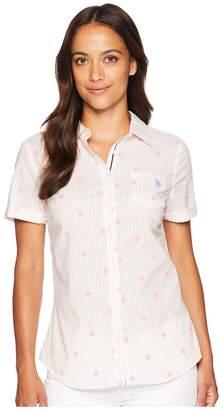 U.S. Polo Assn. Short Sleeve Stripe Dot Poplin Blouse Women's Blouse