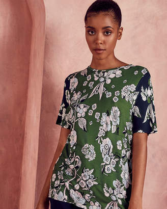 93f041d3acbf3f at Ted Baker · Ted Baker ADREN Floral two-tone T-shirt