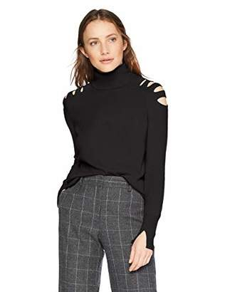 Halston Women's Long Sleeve Turtleneck Sweater with Cut Outs