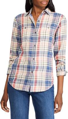 Chaps Petite Straight-Fit Plaid Cotton Twill Button-Down Shirt
