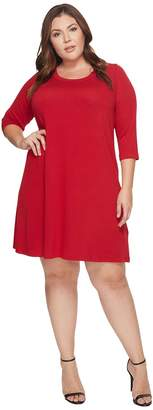 Karen Kane Plus Plus Size 3/4 Sleeve A-Line Dress Women's Dress