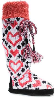 Muk Luks Angie Heart Boot Slipper - Women's