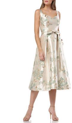 Carmen Marc Valvo Floral Brocade Sweetheart Sleeveless Tea-Length Dress