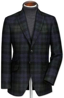 Green and Navy Slim Fit British Tartan Luxury Wool Jacket Size 44 by Charles Tyrwhitt