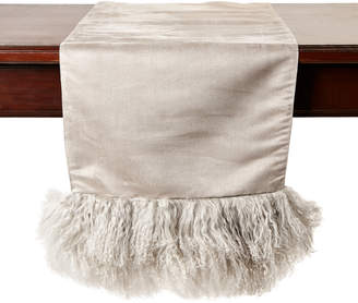 Saro Fog Mongolian Lamb Fur Table Runner