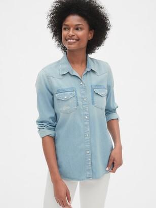 Gap Distressed Denim Western Shirt