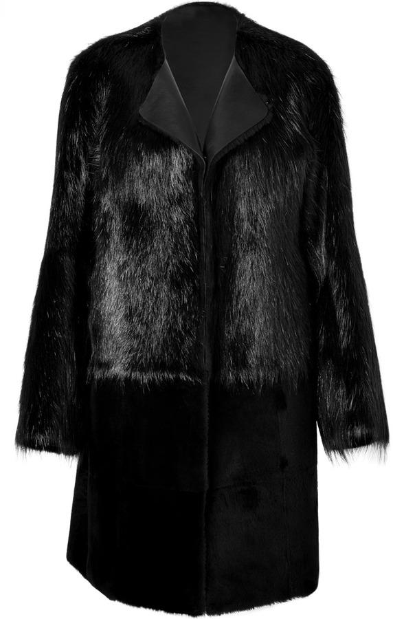 Jil Sander Fur Portorico Coat in Black