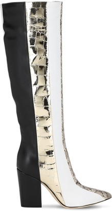 Sergio Rossi 90mm Tall Snakeskin & Leather Boots