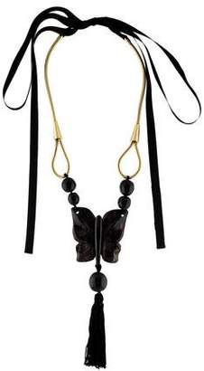 Marni Horn Butterfly Tassel Pendant Necklace