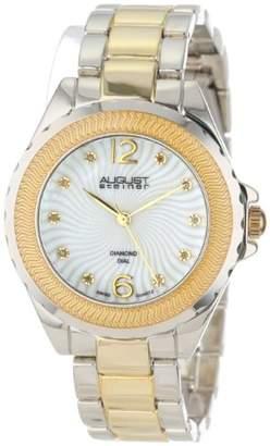 August Steiner Women's AS8064TTG Genuine Diamond Mother-Of-Pearl Bracelet Watch