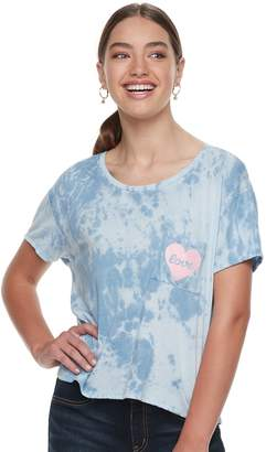 "Grayson Threads Juniors' Love"" Pocket Tie-Dye Boxy Tee"