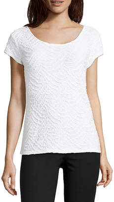 Liz Claiborne Short Sleeve Textured Knit Top - Tall
